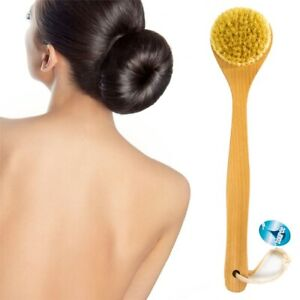 NATURAL BRISTLE WOODEN  BATH/SHOWER Long Handle BACK BRUSH Exfoliate Skin Scrub