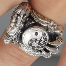 YING YANG ARTISAN DRAGON CLAW BLACK ONYX 925 STERLING SOLID SILVER MENS RING
