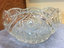 Vintage LE Smith Heavy Hobstar Pressed Glass Sawtooth Edge Candy Bowl clear