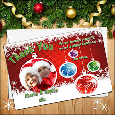 10 Personalised Xmas Christmas Gift Presents PHOTO Thankyou Thank You Cards N7