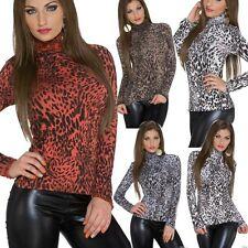 Sexy Miss Damen Shirt Rollkragen Volant Rüschen TOP Rolli 34/36/38 Leopard NEU