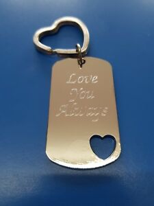 DOG TAG Keyring Metal Chrome | Engraved Message | Gift Bag Included | Both Sides