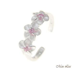 925 Sterling Silver Hawaiian Triple Plumeria Flower Pink CZ Open Toe Ring