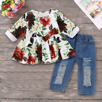 Toddler Kids Baby Girls Flower Tops Dress +Denim Pants Jeans Outfits Clothes Set