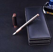 Luxury Black Steel With Bronze Trim Fountain Pen Fine (F) Nib + Case