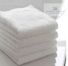 12 PACK WHITE BATH TOWELS 22X44 COTTON CAM BORDER HOTEL MOTEL SALON SPA GYM
