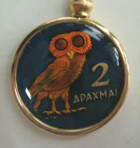 OWLS! OWLS! OWLS! 1973 Athenian Owl 2 Euro Coin Necklace, Colorized, Resin, NEW