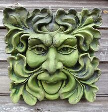 "Goddess green lady oval pagan wall plaque stone home garden ornament 20/""//51cmH"