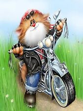 MOTORBIKE CAT MOSAIC DIAMOND PAINTING KIT PAINT BY NUMBERS KIT 5D CROSS STITCH