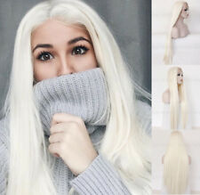 """24"""" Lace Front Wig Long Straight Synthetic Hair Women White Blonde Lace Wig"""