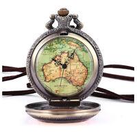 Australien Karte Taschenuhr Analog Quarz Uhr Bronze Kettenuhr Unisex V6U4) OE