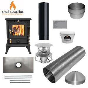 JA013S 5.5kw Cast Woodburner Multi Fuel Stove & Complete 9m Liner Install Kit