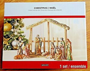 "Ashland 11 pc porcelain nativity set with 6"" figures & wood creche NEW in box"