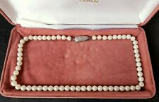 1960s Vintage Mikimoto Japanese Cultured Pearls Necklace Signed Silver Clasp