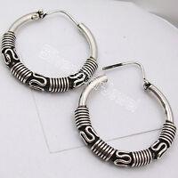 "TIBETAN Jewelry ! 925 SOLID Silver GORGEOUS ETHNIC OXIDIZED HOOP Earrings 1.3"""