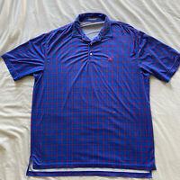 Peter Millar Summer Comfort Golf Polo Shirt Size XL Blue Geometric