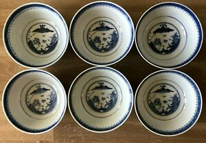 Lovely Set of 6 Chinese Blue & White Scenic Rice Bowls Signed
