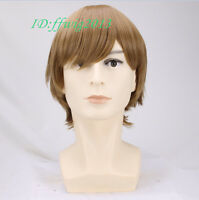Cosplay wig men Handsome straight Short Brown Wig + Free wig cap