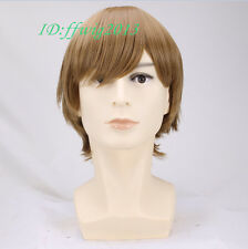 Cosplay wig men Handsome straight Short Brown Wig + Free wig cap