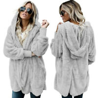 Womens Winter Warm Fleece Fur Jacket Outerwear Tops Hooded Fluffy Coat USA STOCK