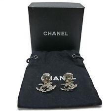 Auth CHANEL Dangle Double CC LOGO Earrings Rhinestone Silver Brass 05P #K14008