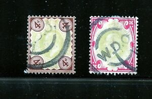 Great Britain #133 & #138 (GR475) King Edward VII, Used, FVF, CV$75.00