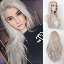 "24"" Heat Resistant Lace Front Wig Synthetic Hair Natural Straight Light Gray"
