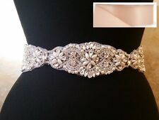 "Crystal Pearl Wedding Bridal Dress Belt in BLUSH satin sash = 15 1/4"" long"
