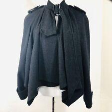 TOPSHOP Wool Asymmetric Gray Swing Coat Cape, Small, 4
