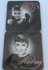 Audrey Hepburn Coasters-Set of Four- 4 different pictures- black white pink