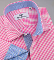 Pink Gingham Check Formal Dress Shirt Smart and Sexy Business Apparel Blue Stars
