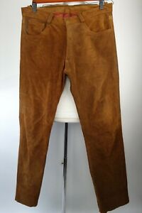 Vintage The Original Leather Line Suede Motorcycle Pants Straight Fit Size 38x34
