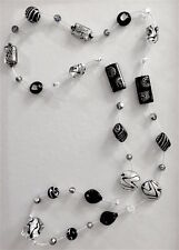 Black, Gray, Silver, White Gold Murano Glass and Crystal Necklace