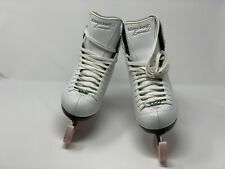 Riedell 'Emerald' Figure Ice Skates  -woman's size 7, with pink blade keepers
