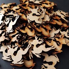 50x Mini De Madera Navidad Adornos Mdf en Blanco Forma Bambi reno Art 20 mm