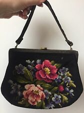 Vintage 50s Black Needlepoint Floral Small Purse Clutch Evening