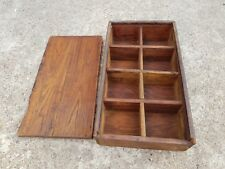 Original Old Primitive Handcrafted 8 Compartments Spice Keeping Wooden Box
