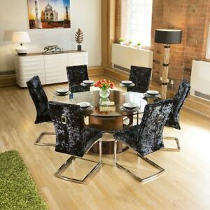 Round Glass Top Walnut Dining Table + 6 Black Crushed Velvet Chairs