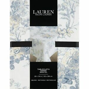 LAUREN RALPH LAUREN White Floral Rectangular Tablecloth 152 x 264cm, new