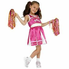 Smiffys Childrens Cheerleader Costume Child Dress and Pom Poms Ages 4-6