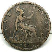 1894, GREAT BRITAIN, VICTORIA - ONE PENNY, BRONZE  COIN- KM# 755