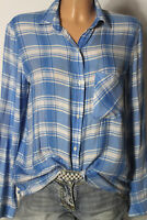 ZARA Bluse Gr. S hell-blau/weiß kariert Langarm Karo Bluse/Hemd