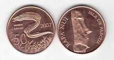 EASTER ISLAND - 50 PESO UNC COIN 2007 YEAR MORAY EEL FISH