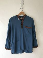 Nepal Handicraft Ethnic Clothing Blue Cotton Tunic Top Boho Organic Small Shirt