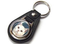 BRITISH SHORTHAIR CREAM TABBY Cat Kitten Quality Leather and Chrome Keyring