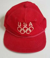 Vintage USA Olympic Corduroy Cap Red Adjustable Baseball Hat Official Clutch