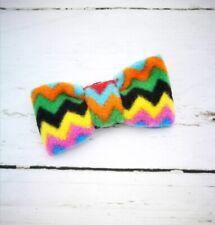 Zig Zag Fleece Rainbow Dog Bow Tie / Dicky Bow Collar Accessory