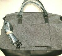 Large BLACK / GRAY TWEED & P U LEATHER TOTE HANDBAG BAG PURSE CROSSBODY BAG