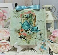 """~ Shabby Chic Vintage French Country Cottage Wall/Table Decor. Sign """"Tea Time"""" ~"""