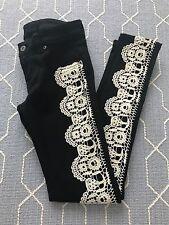 LF Carmar Black Jeans w/ Cream/Ivory Lace Detail Skinny Jeans Stretchy Size 24